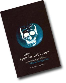 Omslaget till Den sjunde djävulen med en blå djävul inuti en stiliserad blå tomat.