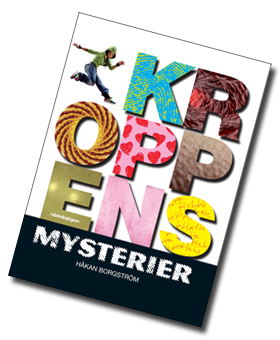 Omslag till boken Kroppens mysterier med bokststäver ifyllda med bilder.