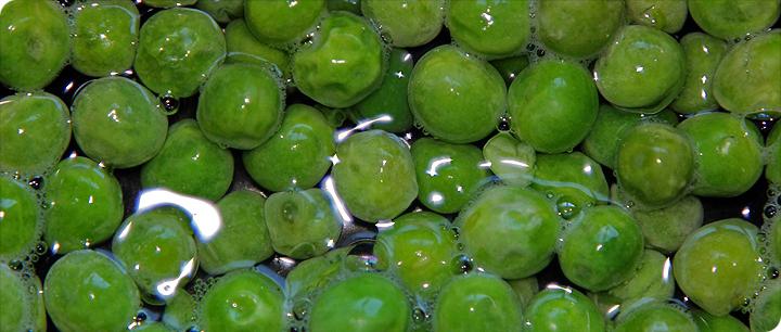 Närbild på gröna ärtor i vatten.