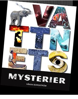 Omslag till vattnets mysterier där bokstäverna är ifyllda med fotografier, bland annat ett fisköga.